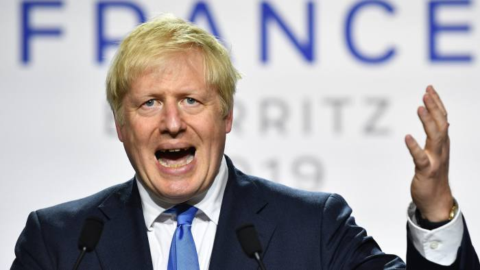BIARRITZ, FRANCE - AUGUST 24: UK Prime Minister Boris Johnson during a press conference in the Bellevue hotel conference room at the conclusion of the G7 summit on August 24, 2019 in Biarritz, France. The French southwestern seaside resort of Biarritz is hosting the 45th G7 summit from August 24 to 26. High on the agenda will be the climate emergency, the US-China trade war, Britain's departure from the EU, and emergency talks on the Amazon wildfire crisis. (Photo by Jeff J Mitchell/Getty Images)