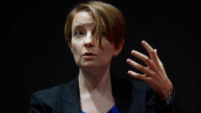 Clare Lombardelli, chief economic adviser at the U.K. Treasury, gestures while speaking during a panel discussion at Bloomberg's European headquarters in London, U.K., on Tuesday, July 24, 2018. One of the key officials involved in choosingBank of Englandpolicy makers has pushed back against criticism that the central bank has too few women at the top. Photographer: Olivia Harris/Bloomberg
