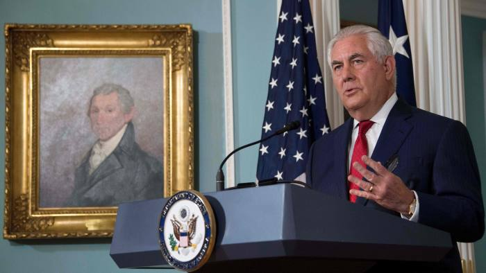 """US Secretary of State Rex Tillerson makes a statement to the press at the State Department in Washington, DC, October 4, 2017. Secretary of State Rex Tillerson denied Wednesday he had considered resigning from Donald Trump's cabinet and dismissed a report that he had called the president a """"moron"""" as """"petty nonsense."""" """"The vice president has never had to persuade me to remain as secretary of state because I have never considered leaving this post,"""" Tillerson said, denying an NBC News report. / AFP PHOTO / JIM WATSONJIM WATSON/AFP/Getty Images"""
