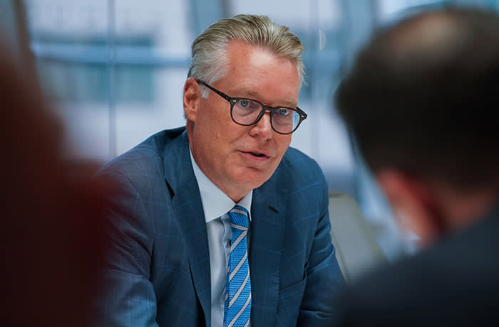 Edward Bastian, President and Chief Executive Officer of Delta Air Lines Inc., speaks during an interview in New York, the United States, Wednesday September 18, 2019. Delta does not expect a major impact from the increase fuel prices, said Bastian in Washington. Delta occupies a unique position among American airlines because it owns the Monroe Energy LLC refinery in Pennsylvania, which offers natural cover against increases in fuel prices. Photographer: Christopher Goodney / Bloomberg