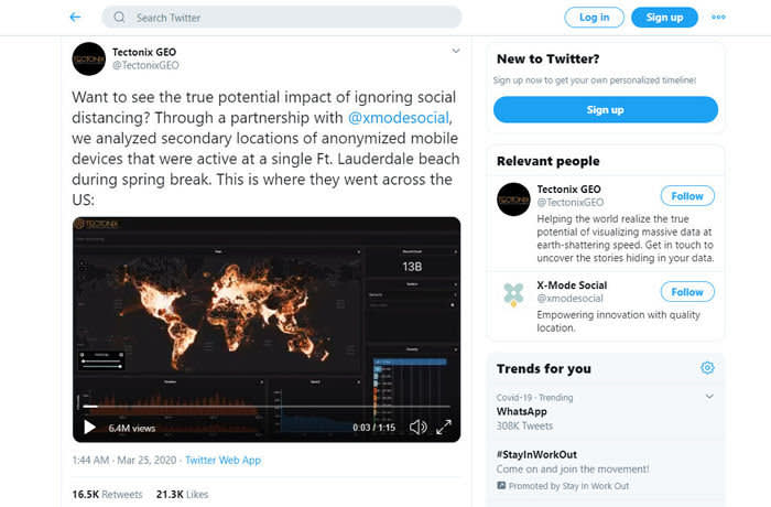grab from Tectonix twitter feed: The maps were created by data visualization company Tectonix GEO in collaboration with location technology company X-Mode, as part of an effort to track the spread of the coronavirus across the world.