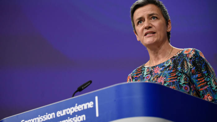 EU Commissioner of Competition Margrethe Vestager gives a joint press on Antitrust : Google online search advertising at the EU headquarters in Brussels on March 20, 2019. - The EU's powerful anti-trust regulator slapped tech giant Google with a new fine on March 20, 2019 over unfair competition, in Europe's latest salvo against Silicon Valley. (Photo by John THYS / AFP)JOHN THYS/AFP/Getty Images