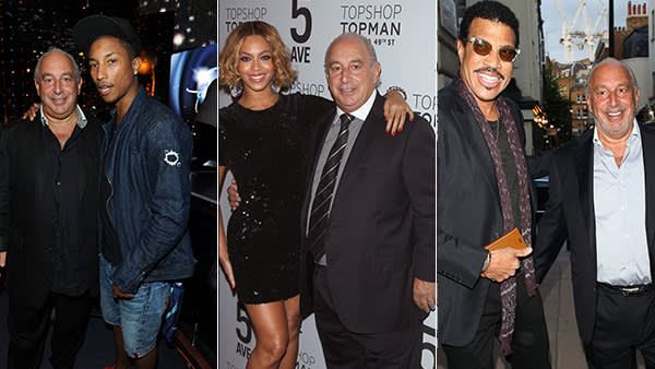 Philip Green with from left, Pharrell Williams, Monte Carlo, 2010; Beyoncé, New York, November 2014;  Lionel Richie, London, June this year