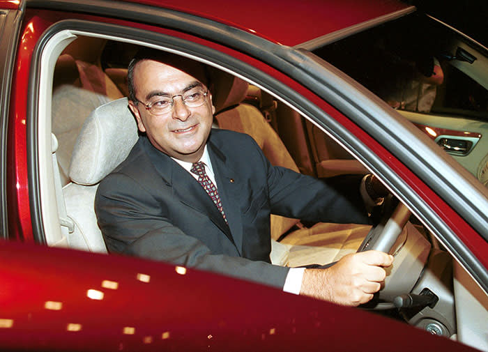 377266 04: Nissan Motor Co. President Carlos Ghosn sits in the new Bluebird Sylphy August 30, 2000 at a news conference in Tokyo, Japan. Nissan said it has no plans to change its ties with Firestone after its tire recall, adding it was not clear how much responsibility for the problems rested solely with the tire maker. (Photo by Koichi Kamoshida/Liaison)