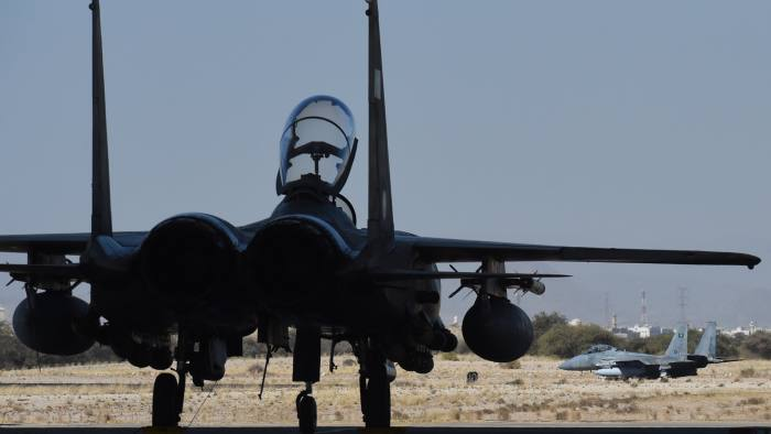 TO GO WITH AFP STORY BY IAN TIMBERLAKE A picture taken on November 16, 2015 shows Saudi F-15 fighter jets preparing to take off for operations over Yemen at the Khamis Mushayt military airbase, some 880 km from the capital Riyadh. AFP PHOTO / FAYEZ NURELDINE === PHOTO TAKEN DURING A GUIDED MILITARY TOUR === / AFP / FAYEZ NURELDINE (Photo credit should read FAYEZ NURELDINE/AFP/Getty Images)