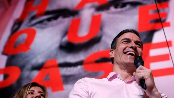 Mandatory Credit: Photo by JuanJo Martin/EPA-EFE/REX/Shutterstock (10220990h) Spanish Prime Minister and Secretary General of Spanish Socialist Workers' Party (PSOE), Pedro Sanchez, talks to supporters after winning the general elections at the Socialist Party headquarter in Madrid, Spain, 28 April 2019. Nearly 36.9 million people were called to vote in the third Spanish general elections in four years. General Elections, Madrid, Spain - 28 Apr 2019