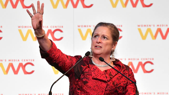NEW YORK, NY - NOVEMBER 01: Honoree Abigail Disney speaks onstage during the 2018 Women's Media Awards at Capitale on November 1, 2018 in New York City. (Photo by Mike Coppola/Getty Images for Women's Media Center)