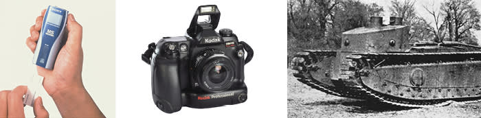 Ideas that got stuck: Sony's Memory Stick Walkman; a Kodak SLR digital camera (Alamy); a Medium-D tank