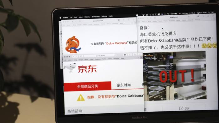 f0f9824ab4f9 At least two ecommerce groups in China have pulled Dolce   Gabbana products  from their sites