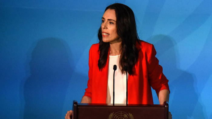 NEW YORK, NY - SEPTEMBER 23: Prime Minister of New Zealand Jacinda Ardern speaks at the Climate Action Summit at the United Nations on September 23, 2019 in New York City. While the United States will not be participating, China and about 70 other countries are expected to make announcements concerning climate change. The summit at the U.N. comes after a worldwide Youth Climate Strike on Friday, which saw millions of young people around the world demanding action to address the climate crisis. (Photo by Stephanie Keith/Getty Images)