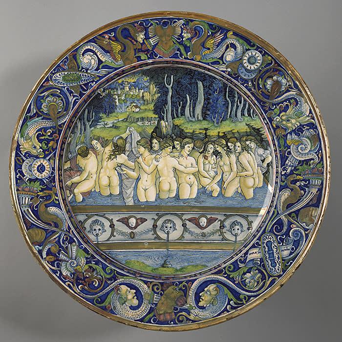 Maiolica dish with Women Bathing, Italian, 1525