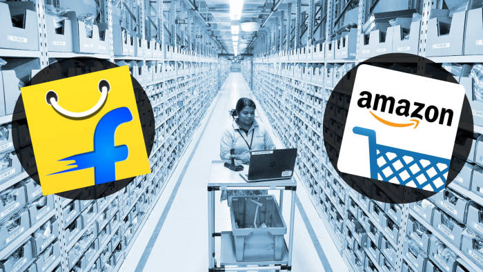 03866a066b The new Amazon fulfilment centre near Bangalore. Amazon and Flipkart are  battling for control of India s ecommerce sector © FT montage  Getty Images