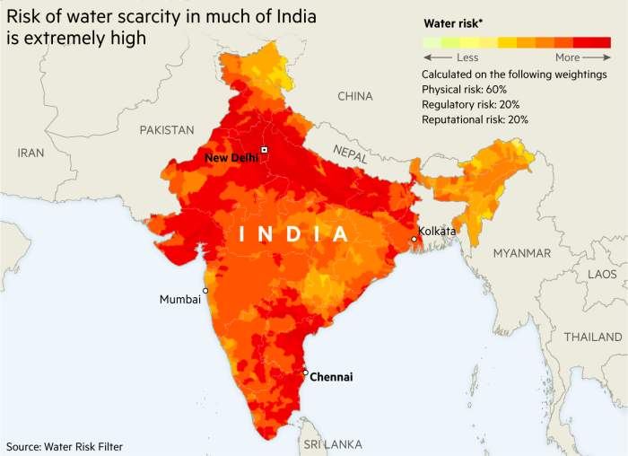 Map showing risk of water scarcity in much of India is extremely high