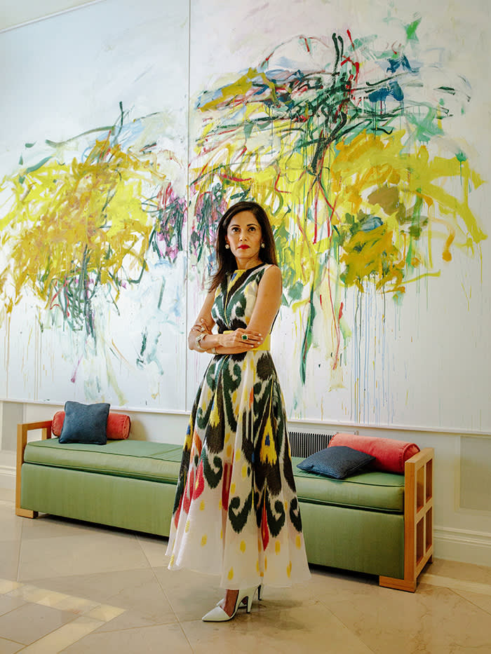 Komal Shah, in front of a work by Joan Mitchell, photographed for the FT by Brian O'Flaherty