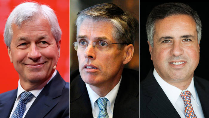 From left, JPMorgan Chase's chief executive Jamie Dimon, and his co-presidents, Gordon Smith and Daniel Pinto