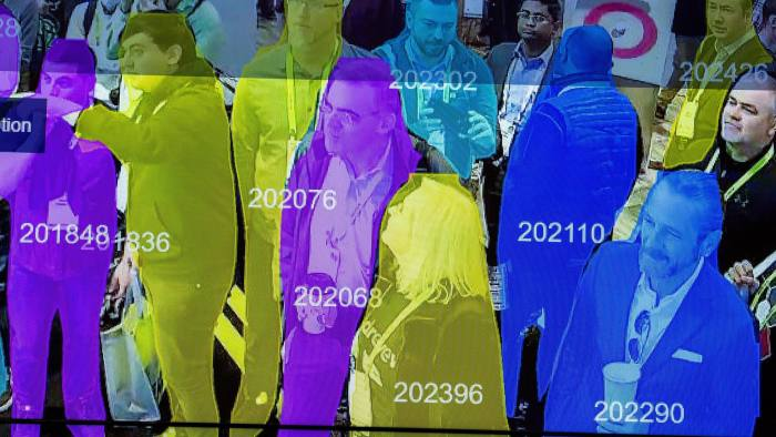 A live demonstration uses artificial intelligence and facial recognition in dense crowd spatial-temporal technology at the Horizon Robotics exhibit at the Las Vegas Convention Center during CES 2019 in Las Vegas on January 10, 2019. (Photo by DAVID MCNEW / AFP) (Photo credit should read DAVID MCNEW/AFP/Getty Images)