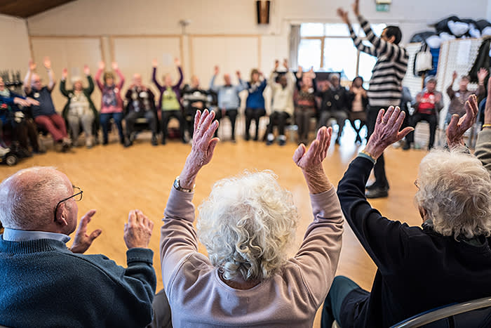 09/02/2018 Singing for the Brain choir event in aid of the Alzheimer's Society, to be featured in a special report on dementia. Picture shows the choir practising in St. Matthews church, Croydon.