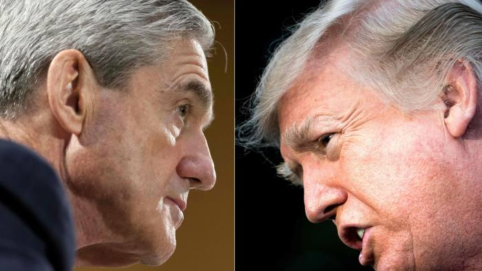 (COMBO) This combination of pictures created on January 8, 2018 shows files photos of FBI Director Robert Mueller (L) on June 19, 2013, in Washington, DC; and US President Donald Trump on December 15, 2017, in Washington, DC. Donald Trump said Wednesday he is willing to be questioned under oath by special prosecutor Robert Mueller, who is leading the investigation into collusion between the US president's election campaign and Russia. According to media reports Mueller, who is examining whether Trump tried to obstruct the Russia investigation, is hoping to interview the president in the coming weeks. / AFP PHOTO / SAUL LOEB AND Brendan SmialowskiSAUL LOEB,BRENDAN SMIALOWSKI/AFP/Getty Images
