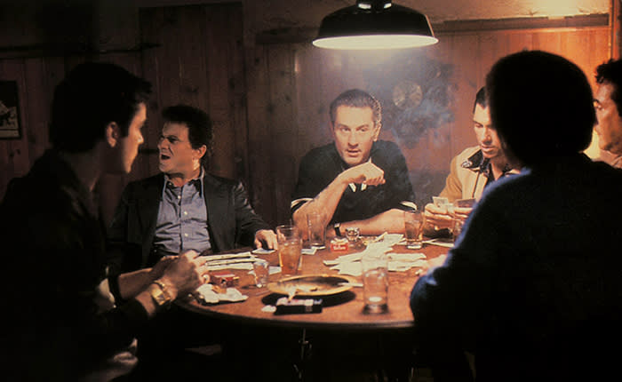 RAY LIOTTA, JOE PESCI, ROBERT DE NIRO Character(s): Henry Hill,Tommy DeVito,James 'Jimmy' Conway Film 'GOODFELLAS' (1990) Directed By MARTIN SCORSESE 12 September 1990 CTF19430 Allstar Collection/WARNER BROS **WARNING** This photograph can only be reproduced by publications in conjunction with the promotion of the above film. A Mandatory Credit To WARNER BROS is Required. For Printed Editorial Use Only, NO online or internet use. 0511z@yx