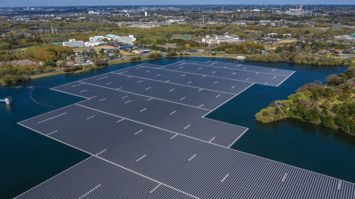 ICHIHARA, JAPAN - APRIL 16: A general view of the Yamakura Dam floating solar plant on April 16, 2019 in Ichihara, Japan. Activated in March 2018 and the largest power plant of its type in Japan, the solar plant was constructed on the surface of Yamakura Dam reservoir and covers over 44 acres of surface area with 50,904 solar modules generating approximately 16,170 megawatt hours (MWh) per year - enough electricity to power approximately 4,970 typical households. (Photo by Carl Court/Getty Images)