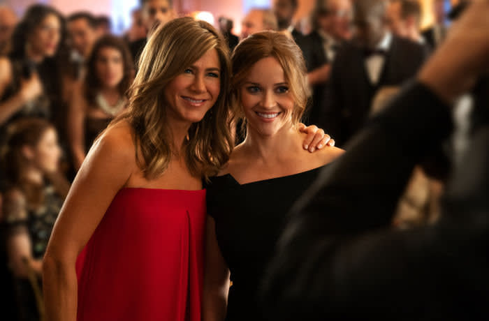 """Jennifer Aniston and Reese Witherspoon in """"The Morning Show,"""" premiering November 1 on Apple TV+"""