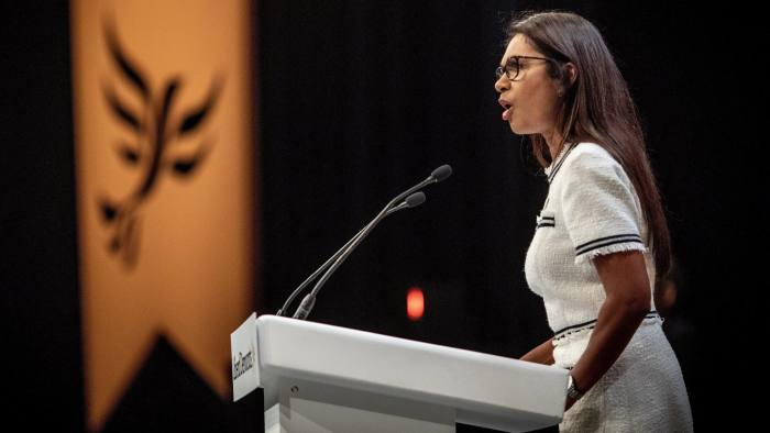 15/08/2018 Gina Miller addresses the liberal democrat conference in Brighton today.