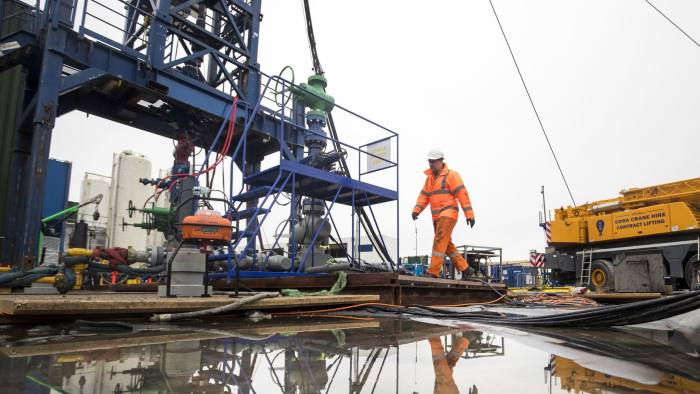 File photo dated 05/10/18 of a worker at the Cuadrilla fracking site in Preston New Road, Little Plumpton, Lancashire. Fracking at the gas exploration site in Lancashire has been halted again after another tremor was detected underground. PRESS ASSOCIATION Photo. Issue date: Monday October 29, 2018. Energy firm Cuadrilla resumed hydraulic fracturing at Little Plumpton on Monday after it was paused when an earthquake, recorded as 0.8 magnitude by the British Geological Survey (BGS), was detected on Friday. See PA story ENVIRONMENT Fracking. Photo credit should read: Danny Lawson/PA Wire