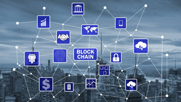 The blockchain concept in database management. Financial, data.