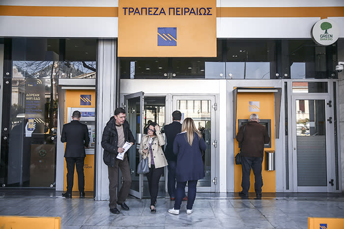 A branch of Piraeus Bank in Athens