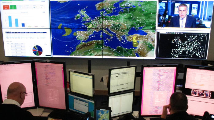 A Tuesday, April 12, 2016, photo showing the central control room for Ryanair flight operations at the airline's Dublin headquarters. The liquid crystal wall map shows a live picture of every Ryanair flight airborne over Europe, North Africa, the Mediterranean.  European budget carrier Ryanair has posted record full-year profits and passenger figures, Monday, May 23, 2016, and expects both to hit new highs this summer amid rapid growth and declining fares. (AP Photo/Shawn Pogatchnik)