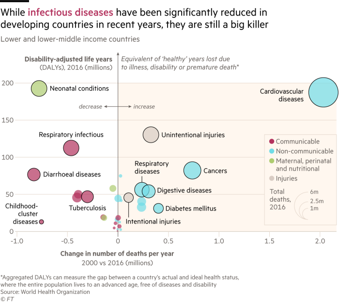 Charts showing that while infectious diseases have been significantly reduced in developing countries in recent years, they are still a big killer