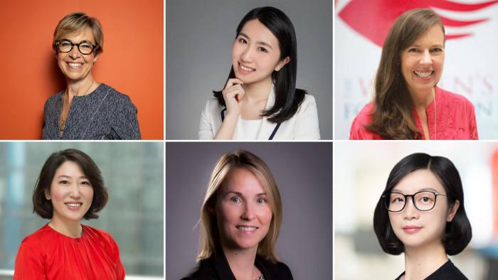 Clockwise from top left: Brenda Trenowden; Lin Jingxiao; Fiona Nott; Helen Liu; Imke Wouters; Xing Zhou