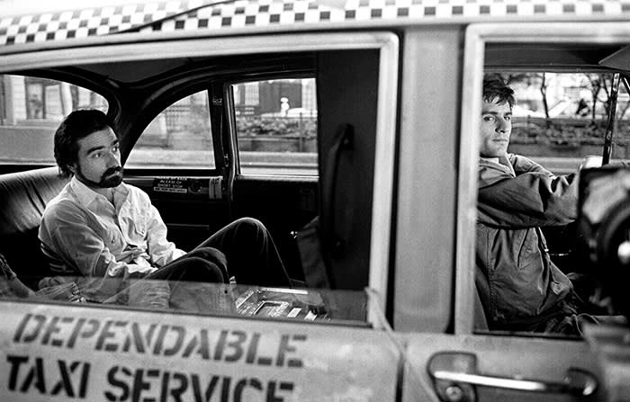 Robert De Niro and Martin Scorsese during the filming of Taxi Driver (Photo by Steve Schapiro/Corbis via Getty Images)