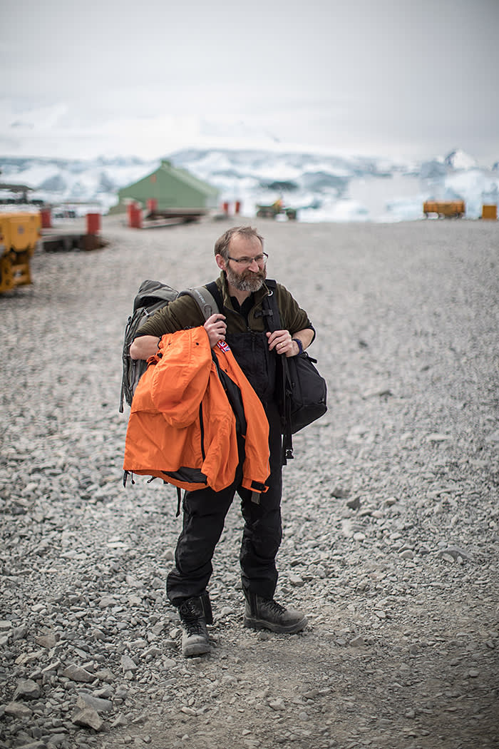 BAS geographer Peter Fretwell at Rothera