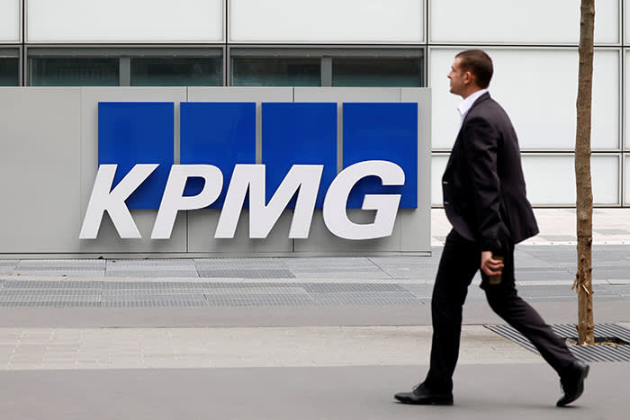 FILE PHOTO: The logo of KPMG, a professional service company, is seen at the company's head offices at La Defense business and financial district in Courbevoie near Paris, France. May 16, 2018.  REUTERS/Charles Platiau/File Photo