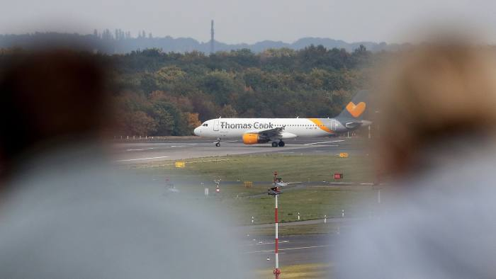 Mandatory Credit: Photo by FRIEDEMANN VOGEL/EPA-EFE/Shutterstock (10421418at) An Airbus A320 of Thomas Cook Airlines at International Airport in Duesseldorf, Germany, 23 September 2019. More than 600,000 vacation reservations were canceled on 23 September, after Thomas Cook ceased to operate. According to media reports, the company's collapse will see Britain's largest peace time repatriation take place to get stranded customers home. British tour operator Thomas Cook stops operating, Duesseldorf, Germany - 23 Sep 2019