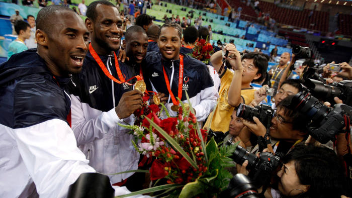 Mandatory Credit: Photo by KERIM OKTEN/EPA-EFE/Shutterstock (10539833c) (FILE) - epa01465123 USA Kobe Bryant (L), Lebron James (2nd), Dwane Wade (3rd) and Carmelo Anthony celebrate their gold medal match at Beijing Olympic Basketball Gymnasium in Beijing, China, 24 August 2008 (reissued 26 January 2020). According to media reports former US basketball player Kobe Bryant has died in a helicopter crash in Calabasas, California, USA on 26 January 2020. He was 41. Kobe Bryant dies in helicopter crash, Beijing, China - 24 Aug 2008