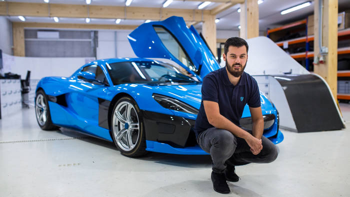 Mate Rimac in his Zagreb factory with a Rimac C_Two