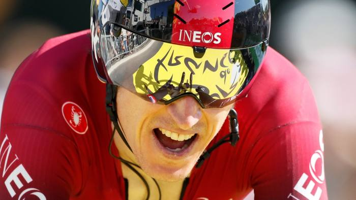 Cycling - Tour de France - The 27.5-km Stage 13 Individual Time Trial from Pau to Pau - July 19, 2019 - Team INEOS rider Geraint Thomas of Britain finishes. REUTERS/Gonzalo Fuentes
