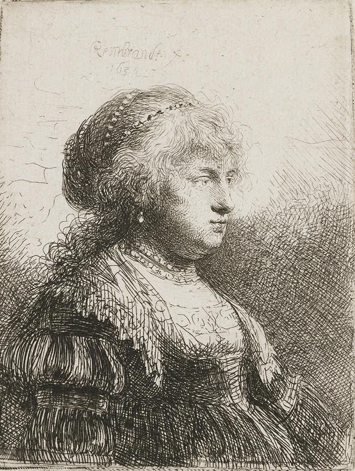 18. Rembrandt van Rijn, Saskia met een parelsnoer in het haar, 1634