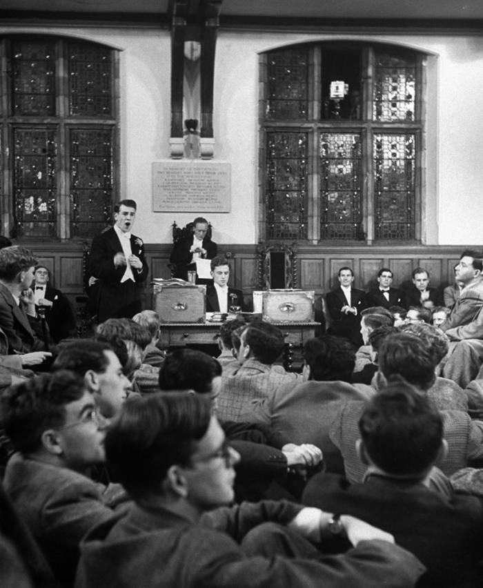 The Oxford Union Debating Chamber as it was in 1949. By the 1980s, 'you won debates not by boring the audience with detail, but with jokes and ad hominem jibes'
