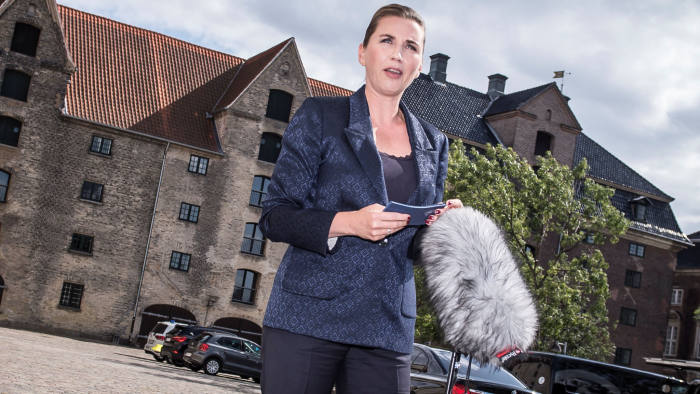 Denmark's Prime Minister Mette Frederiksen addresses the media regarding U.S. President Donald Trump's cancellation of his visit to Denmark, in Copenhagen, Denmark, August 21, 2019. Ritzau Scanpix/Mads Claus Rasmussen via REUTERS ATTENTION EDITORS - THIS IMAGE WAS PROVIDED BY A THIRD PARTY. DENMARK OUT. NO COMMERCIAL OR EDITORIAL SALES IN DENMARK.