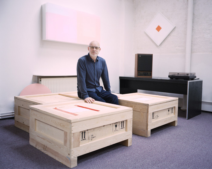 Brian Eno, in his studio, photographed for the FT by Gabby Laurent