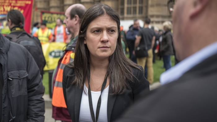 The RMT holds a protest outside parliament to argue the case for keeping guards on trains. To go with Josh Spero copy. Picture shows: Wigan MP Lisa Nandy.