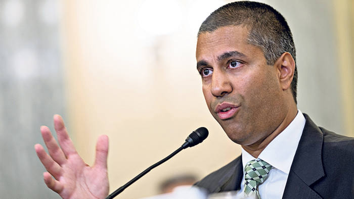 Ajit Pai, chairman of the Federal Communications Commission (FCC), speaks during a Senate Commerce Committee hearing in Washington, D.C., U.S., on Thursday, Aug. 16, 2018. Pai is testifying for the first time since acknowledging that he incorrectly told lawmakers that the agency was hit by a cyberattack during the height of last year's net neutrality battle. Photographer: Andrew Harrer/Bloomberg