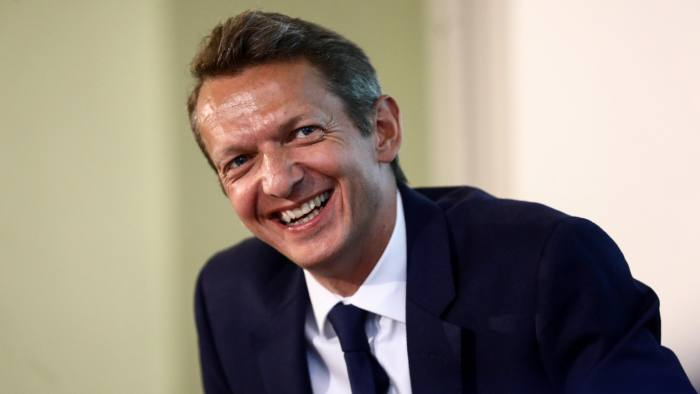 Andy Haldane, chief economist of Bank of England, reacts during the launch of the central bank's econoME education programme in the City of London, U.K., on Friday, April 27, 2018. Money markets have slashed bets on the Bank of England raising borrowing costs when it meets in two weeks, with the odds for an increase collapsing to 20 percent from above 50 percent on Thursday. Photographer: Simon Dawson/Bloomberg