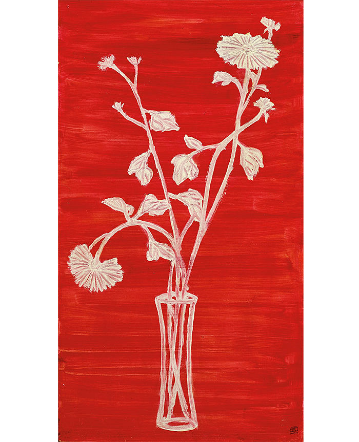 Sanyu's 'Vase of Chrysanthemums with Red Ground' (c1930-40s)