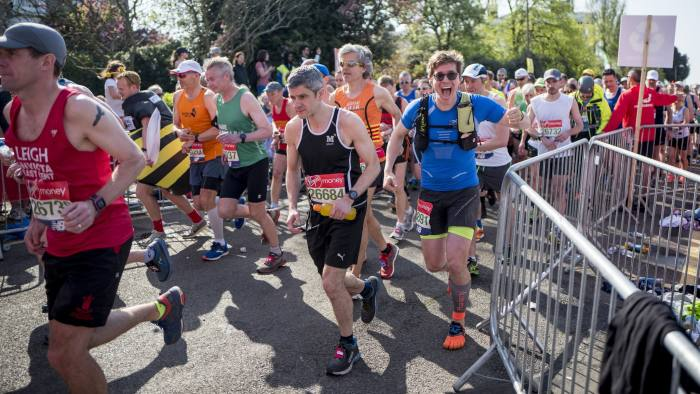 Patrick McGee at the starting line of London Marathon in east London on April 22, 2018.