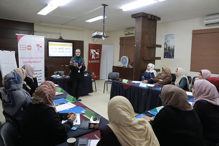 Leading role: Amany S Abu AlQumboz conducts a session on combating gender-based violence for non-specialists in the field