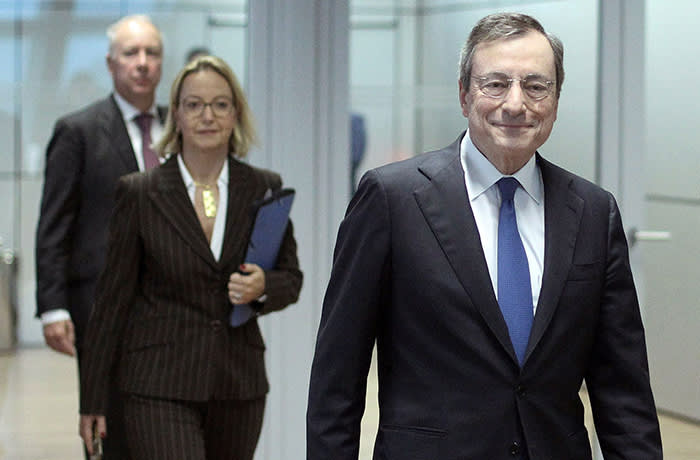 Mario Draghi, President of the European Central Bank (ECB), arrives for the press conference following the meeting of the Governing Council in Frankfurt am Main, western Germany, on October 24, 2019. - The European Central Bank held key interest rates and other monetary tools unchanged at its meeting, leaving departing European president Mario Draghi to defuse differences among policymakers over continued stimulus as best he can in a final press conference. (Photo by Daniel ROLAND / AFP) (Photo by DANIEL ROLAND/AFP via Getty Images)